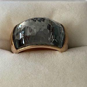 Swarovski crystal dome ring in rose gold